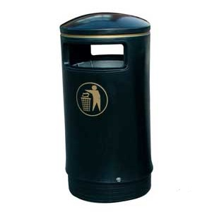 Victorian Outdoor Hooded Top Litter Bin complete with Liner