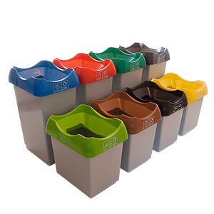 Waste Recycling Bins with Coloured Lids