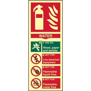 Water Fire Extinguisher Photoluminescent Sign