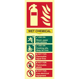 Wet Chemical Fire Extinguisher Photoluminescent Sign