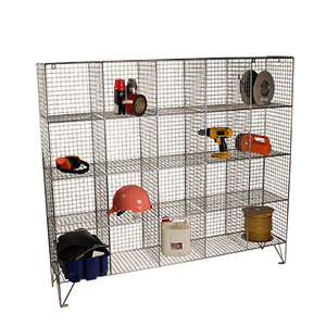Open Front Wire Mesh Multi Compartment Lockers