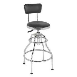 Sealey Workshop Stool Pneumatic with Adjustable Height Swivel Seat & Back Rest