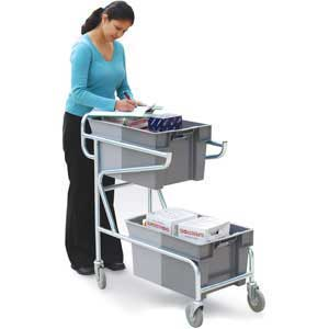 Double Container Trolley, with 2 grey containers