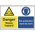 Caution Noise Hazard - Ear Protectors Must Be Worn Sign
