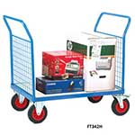 Galvanised Base Platform Trolley with Double Mesh End