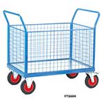 Galvanised Base Platform Trolley with 4 Mesh Sides