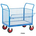 Galvanised Base Platform Trolley with 4 Mesh Sides (1 Half Drop)