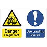 Danger Fragile Roof Use Crawling Boards Sign