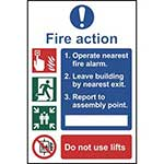 Symbolised Fire Action Notice Sign