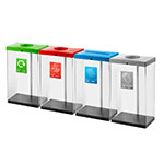 60 Litre Clear Security Recycling Bin With Coloured Lid