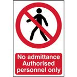 Picture of No Admittance Authorised Personnel Only Sign