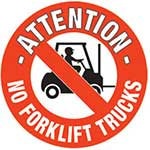 Attention No Forklift Trucks Graphic Floor Marker
