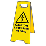 Picture of Caution Electricians Working Floor Sign Stand