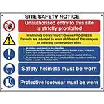 Picture of Construction Site Safety Notice With 1 Prohibition, 1 Warning & 3 Mandatory Messages