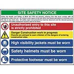 Picture of Construction Site Safety Sign With 1 Prohibition, 1 Warning & 3 Mandatory Messages