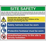Picture of Construction Site Safety Sign With 1 Warning, 2 Mandatory & 1 Prohibition Messages