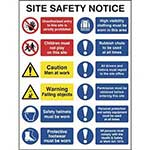 Picture of Construction Site Safety Sign With 2 Prohibition, 2 Warning & 8 Mandatory Messages