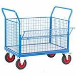 Picture of Galvanised Base Platform Trolley with 4 Mesh Sides (1 Half Drop)