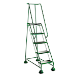 Picture of 5 Ribbed Rubber Tread Glide-along Mobile Steps With Handrails
