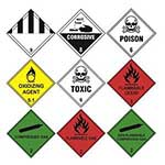 Picture of Hazard Warning Diamond Labels on a Roll - 250 per Roll