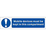Picture of Mobile Devices Must Be Kept In This Compartment Sign, Twin Packs