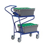 Order Picking Trolley with 2 Shelf Levels and Optional Containers