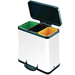 Picture of Pedal Recycling Bins in White and Silver, 2/3 Compartments