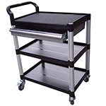 Plastic Tray Trolleys with Shelves and Drawers