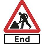 Picture of Road Works Roll-up Sign With End Supplementary Plate