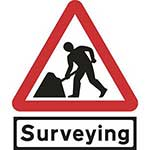 Picture of Road Works Roll-up Sign With Surveying Supplementary Plate