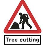 Picture of Road Works Roll-up Sign With Tree Cutting Supplementary Plate