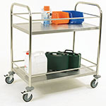Picture of Stainless Steel Trolley with Retaining Bars and 2 Shelves