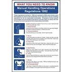 The Manual Handling Operations Regulations 1992 Poster / Wall Chart