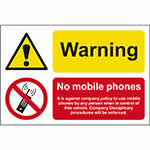 Picture of Warning, No Mobile Phones - It Is Against Company Policy