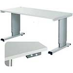 Height adjustable cantilever bench with electric motor