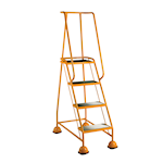 Picture of 4 Ribbed Rubber Tread Glide-along Mobile Steps With Handrails