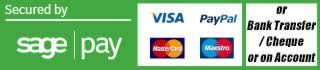 Secured by sage pay, we accept VISA, Mastercard, Maestro, Paypal or payment via Proforma
