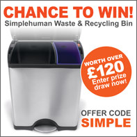 A chance to WIN a Simplehuman bin with orders over £199 entry code SIMPLE