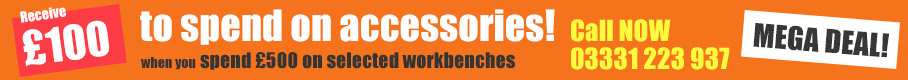 Receive £100 to spend on accessories when you spend £500 on selected workbenches. call 03331 223 937