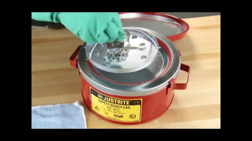 View the Justrite Bench Cans for flammable liquids video