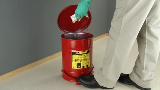 View the Justrite Oily Waste Cans solvent / flammable wipes & rags video